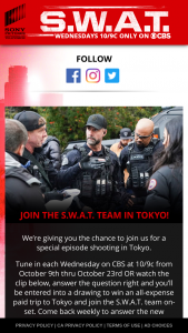 Sony Pictures Television – Swat – Win Prize Sweepstakes will be awarded