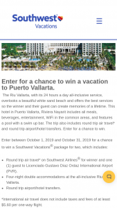 Southwest Vacations – Vacation To Puerto Vallarta Sweepstakes