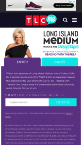 TLC Discovery – Long Island Medium – Win a trip for two to New York