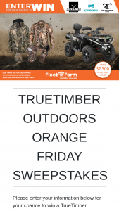 Truetimber/fleet Farm – Outdoors Orange Friday Sweepstakes