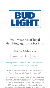"""Anheuser-Busch – Bud Light Platinum Singles – Win $250.00 Live Nation® Concert Cash® in the form of two (2) $125 Live Nation Concert Codes (""""Codes"""")."""