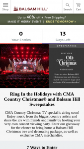 Balsam Hill – Ring In The Holidays With Cma Country Christmas And Balsam Hill Sweepstakes