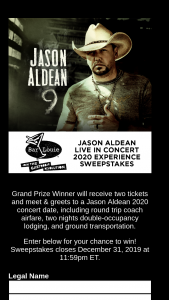 Bar Louie – Jason Aldean Live In Concert 2020 Experience – Win to one (1) entrant selected as the Grand Prize Winner