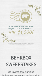 """Behr Paint Company – Behrbox – Win one (1) $1000 The Home Depot e-Gift Card (""""Grand Prize"""")."""