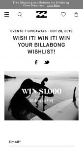 Billabong – Win Your Wishlist Sweepstakes