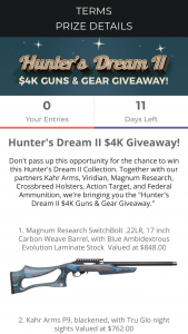 Brand Avalanche – Hunter's Dream Ii $4k Giveaway Sweepstakes