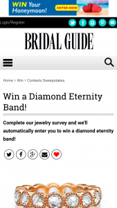 Bridal Guide – Jewelry Survey – Win Old World Diamonds .90 carat 14K rose gold eternity band with 18 antique rose cut diamonds (H color / VS clarity) (ARV $3750).