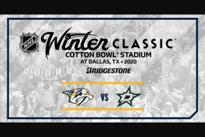 Bridgestone – Nashville Predators Bridgestone Winter Classic – Win two tickets to the Nashville Predators home game against the San Jose Sharks on December 10 2019.