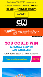 Cartoon Network – Hot Wheels – Win a roundtrip three night/four day Trip to Los Angeles for a Family of Four