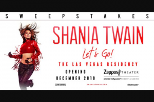 "CMT After Midnite With Cody Alan – Let's Go To Las Vegas Shania Twain – Win day/two night trip for Winner and one guest to see Shania Twain during her residency show Shania Twain ""Let's Go"" in Las Vegas Nevada ARV $2000.00)."