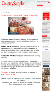 Country Sampler – 2020 Sweet Dreams Giveaway – Win Second Prizes One-Year Subscription to Country Sampler
