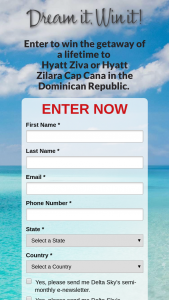 Delta Sky – Dream It Win It Cap Cana Dominican Republic Giveaway Sweepstakes