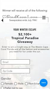 Findkeeplove – Tropical Getaway Sweepstakes