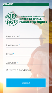 Frontier Airlines – Kids Fly Free – Win four roundtrip tickets valid for $250 each