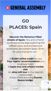 General Assembly – Go Places Spain – Win A $1000 travel credit (ARV $1000).