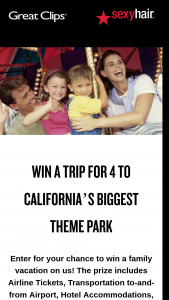 Great Clips – Great California Adventure Great Clips Sexy Hair – Win four (4) days