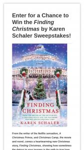 Harpercollins – Karen Schaler Finding Christmas Sweepstakes