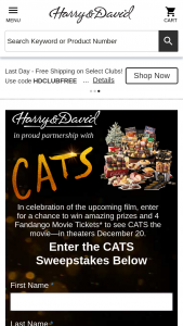 Harry And David – Cats – Win a custom Harry & David® CATS Deluxe Basket and two (2) Fandango al Codes valid for four (4) movie tickets to the CATS movie