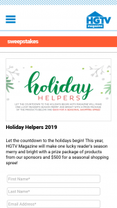 HGTV Magazine – Holiday Helpers – Win a $500 check (ARV $500) plus a prize package including items from Purina Dog Chow