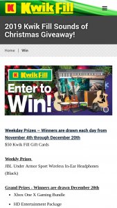Kwik Fill – Sounds Of Christmas Giveaway Sweepstakes