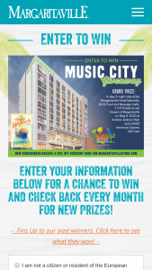 Margaritaville – Music City Giveaway Sweepstakes