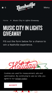 Nashville Convention & Visitors Corp – 2019 Music City In Lights Giveaway – Win of  • Two (2) Night Hotel Accommodations at Embassy Suites Vanderbilt on December 13th and 14th 2019.