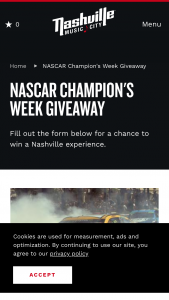 Nashville Convention & Visitors Corp – Nascar Champions Week Giveaway Sweepstakes