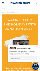 NBC – Making It For The Holidays With Jonathan Adler – Win one Jonathan Adler gift card and one piece of pottery signed by Jonathan Adler