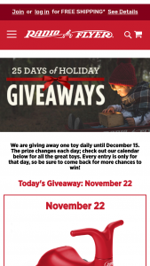 Radio Flyer – 25 Days Of Holiday Giveaways – Win a Radio Flyer product