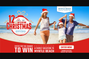 """Retail Sports Marketing -12 Days Of Christmas Visit Myrtle Beach – Win a """"Family Beach Vacation"""" trip that includes three nights"""