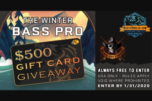 Rustyangler – Winter Bass Pro Gift Card Giveaway Sweepststakes – Win a $500 Bass Pro Shops Gift Card