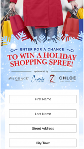 "Seven Deadly Zins Cupcake Vineyards Chloe Wine Collection And Ava Grace Vineyards – Holiday Shopping Spree – Win of one (1) US$1500.00 VISA gift card (each a ""Prize"" and collectively ""Prizes"")."