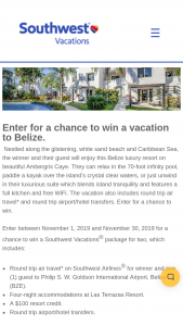 Southwest Vacations – November Belize Sweepstakes