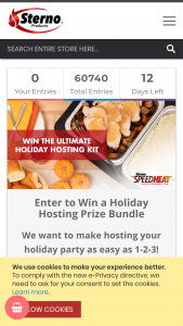 Sterno – Holiday Hosting Prize Bundle – Win a $500 VISA gift card and (3) SpeedHeat Value Kits