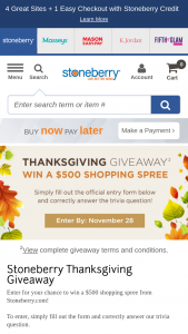 Stoneberry – Thanksgiving Giveaway – Win a $500 shopping spree on Stoneberrycom