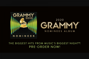 Warner Records – The 2020 Grammy Nominees Album Flyaway – Win a T-shirt (ARV T-shirt prize is a promotional item and has no retail value).