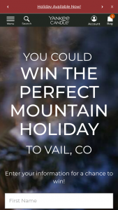 Yankee Candle – Mountain Holiday – Win a 4-day/3-night trip to Vail