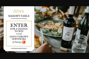 Z Alexander Brown Wines – Maker's Table – Win a set of serveware (ARV $625).