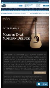 Zzounds – Martin D-28 Modern Deluxe Dreadnought Giveaway – Win ONE Martin D-28 Modern Deluxe Dreadnought Acoustic Guitar