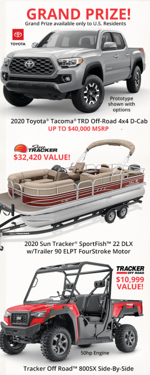 Bass Pro Shops Canada – Win a grand prize of a 2020 Toyota Tacoma valued up to US$40,000 OR 1 of 2 minor prizes