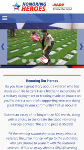 Aarp – Create The Good Honoring Heroes Contest – Win The subject of the Winning Submission will receive $5000.