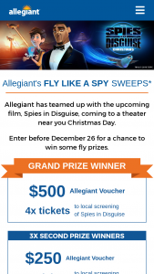 Allegiant – Fly Like A Spy Sweepstakes