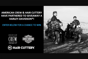 American Crew & Hair Cuttery – Harley-Davidson – Win one (1) 2019 Black Denim Harley-Davidson® Iron 883 motorcycle with an air-cooled evolution engine
