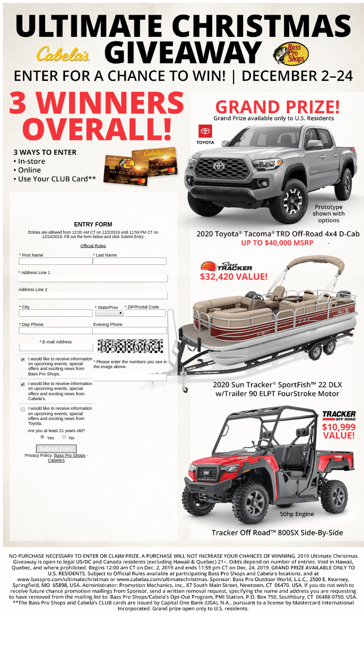Bass Pro Shops And Cabela S 2019 Ultimate Christmas Giveaw