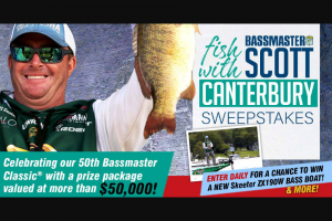 Bassmaster – Fish With Scott Canterbury – Win a prize package consisting of  One (1) trip package for one (1) person