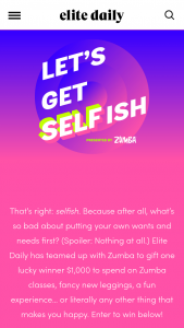 Bdg Media Elite Daily – Let's Get Selfish – Win consisting of one VISA gift card in the amount of $1000 USD
