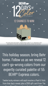 Behr -12 Days Of Color – Win one BEHR Peel & Stick Sample Swatch and one $100 The Home Depot Gift Card