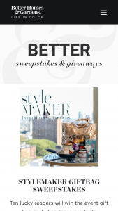 Better Homes And Gardens – Stylemaker Swag Bag – Win package  $117.68 Total ARV of all prizes awarded $1176.80.