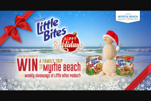 Bimbo Bakeries – Happy Holidays With Little Bites And Visit Myrtle Beach – Win a trip that includes three (3) nights