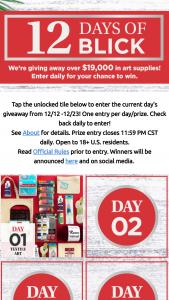 Blick Art Materials – 12 Days Of Blick – Win the following prizes  ·      3 Tier Cart